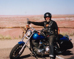 Noel at The Painted Desert, on Route 66. USA, 2002.